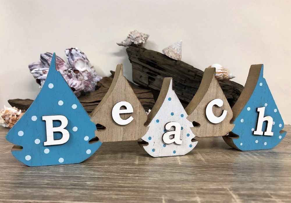 Beach Yacht Sailing Blocks Blue and White Coastal Freestanding Sign
